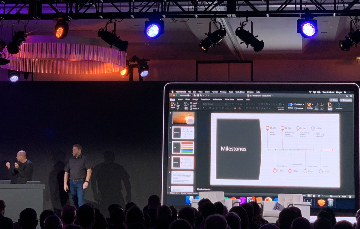 """Ok - This blew my mind: @Anderson had a blank PowerPoint presentation and used a new feature to fill in design details in less than a minute to the ENTIRE presentation.🤯 """"It's like having your own designer."""" Light and dark mode compatible😉#Mac @JAMFSoftware #microsoft #JNUC2019"""