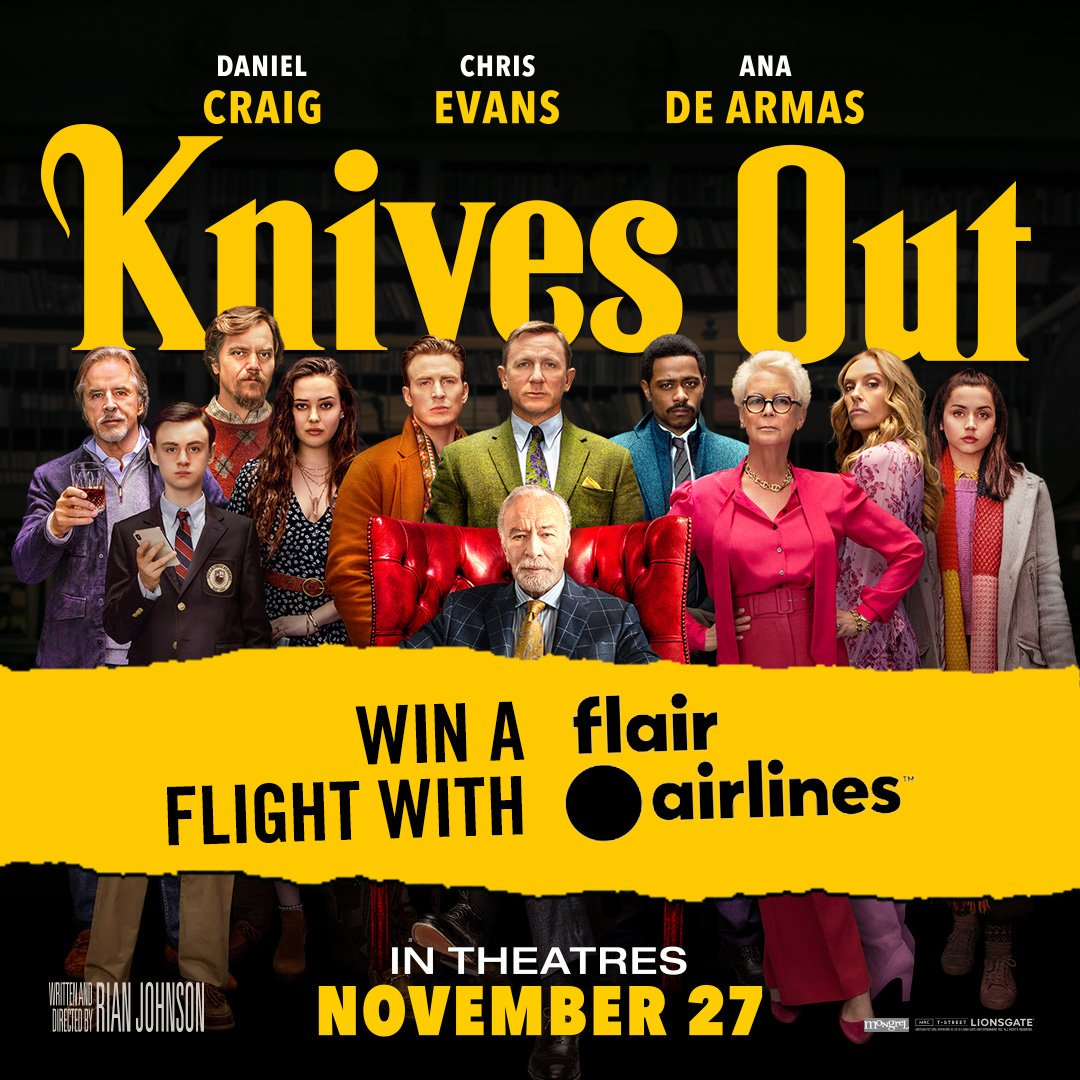 Retweet to be entered to win a round trip flight for two from Flair Airlines to experience the #KnivesOut murder mystery pop-up in Toronto! Contest closes November 17. For full contest details, visit  https:// flyflair.com/contest-rules/    <br>http://pic.twitter.com/GDakbFlD1T