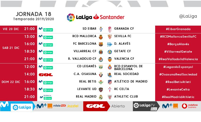 Los horarios de la jornada 18 de LaLiga Santander.