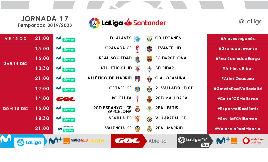 Los horarios de la jornada 17 en LaLiga Santander.