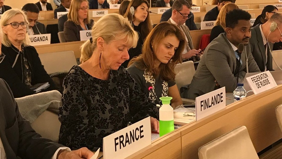 #UPR34; #Finland recommends #Egypt to allow journalists, lawyers, human rights defenders and other civil society actors to exercise their #freedomofexpression  and to end all forms of #discrimination and #ViolenceAgainstWomen  and girls, including #DomesticViolence.<br>http://pic.twitter.com/g8oiAc8w3a