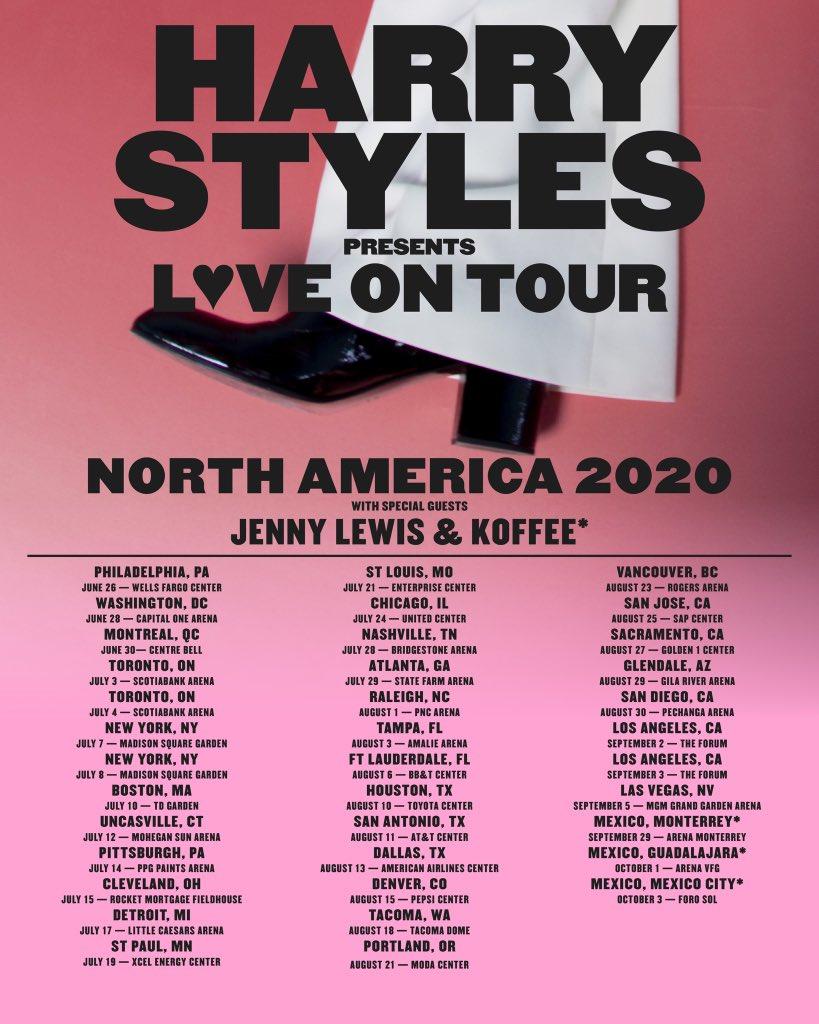 "Harry Styles. auf Twitter: ""LOVE ON TOUR 2020. American Express and Verified Fan Presales begin Monday, November 18. Public onsales begin Friday, November 22. https://t.co/TeYOVTjP56… https://t.co/GVCeQugkxw"""