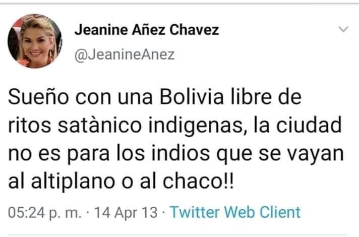 """I want a Bolivia free of satanic indigenous rituals. The city is not for the indigenous. They should go to the mountains or plains""  Words from @JeanineAnez, the self-proclaimed ""President"" of Bolivia. Be mindful: Bolivia is 2/3 indigenous.   #CoupInBolivia #ElMundoConEvo <br>http://pic.twitter.com/s725IR3y6l"