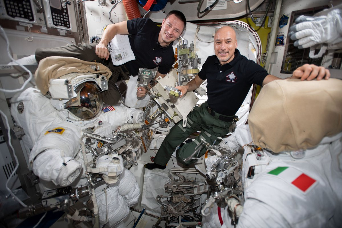 .@astro_luca & I are preparing for a series of 4 spacewalks to repair the Alpha Magnetic Spectrometer, a particle physics experiment searching for antimatter to help us understand the origins of the universe. These will be very complex...it was never intended for repair in space!