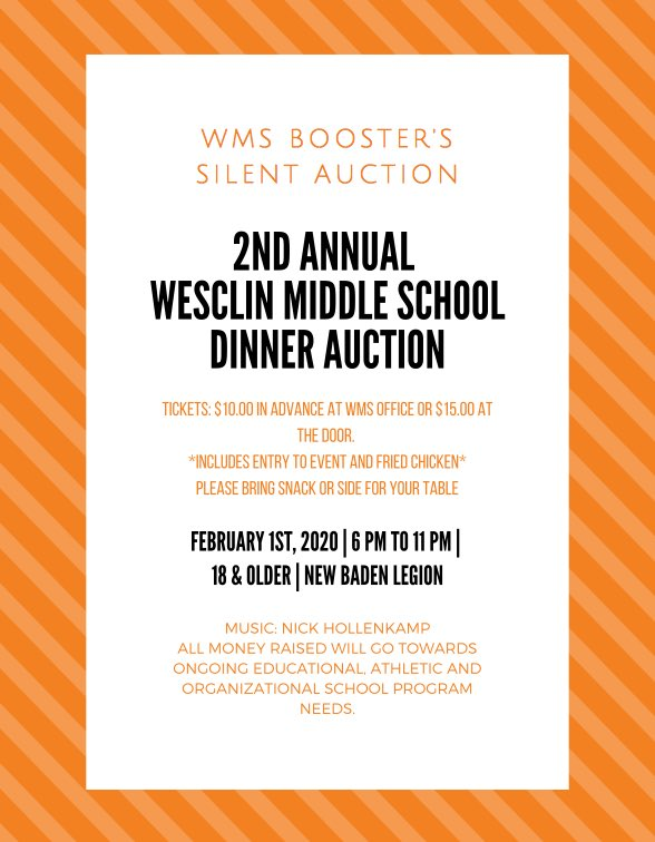 RT @BoostersWms: Save the date! #wesclinwarriors #silentauction #WMB https://t.co/VyhFcr831h