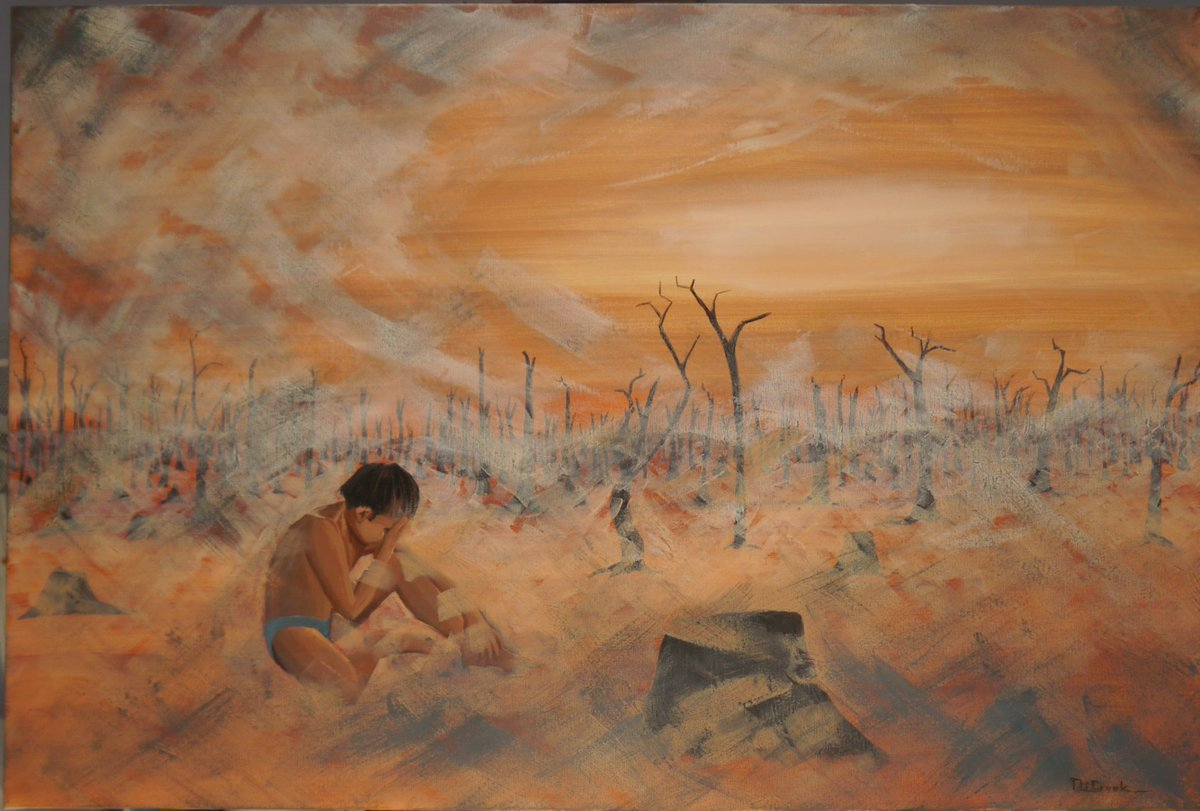 I painted this view of the Amazonian fire aftermath.  A little boy is sitting in the ashes, crying.  Under his breath he starts with a whisper and then cries, 'why? Why? WHY? Please don't forget him.   #amazonforest #prayfortheamazon, #prayforamazonas #amazonrainforest<br>http://pic.twitter.com/fqrqfIssTN
