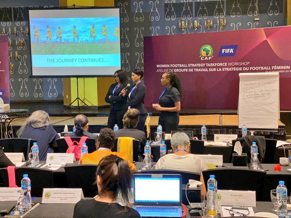 Marketing Director in Cairo for CAF Workshop Jessica Motaung from South Africa with Chisom Mbonu-Ezeoke and Aisha Falode, both from Nigeria making a presentation on Communication and Commercialization. #Amakhosi4Life
