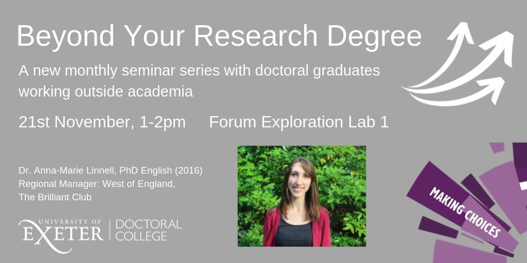 test Twitter Media - We are opening our #beyondyourresearchdegree careers seminars next week up to Masters students! At Streatham we have Dr. Anna-Marie Linell from @BrilliantClub talking about working in the charity sector. Book here: https://t.co/KwiCRBnqcI https://t.co/oYQschtuaC