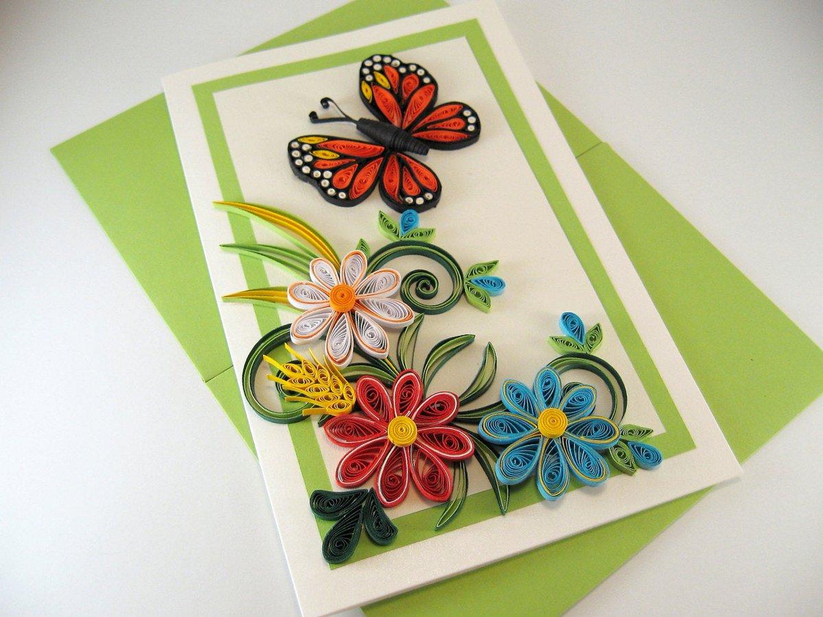 открытка из квиллинга на день рождения с цветами этом имели