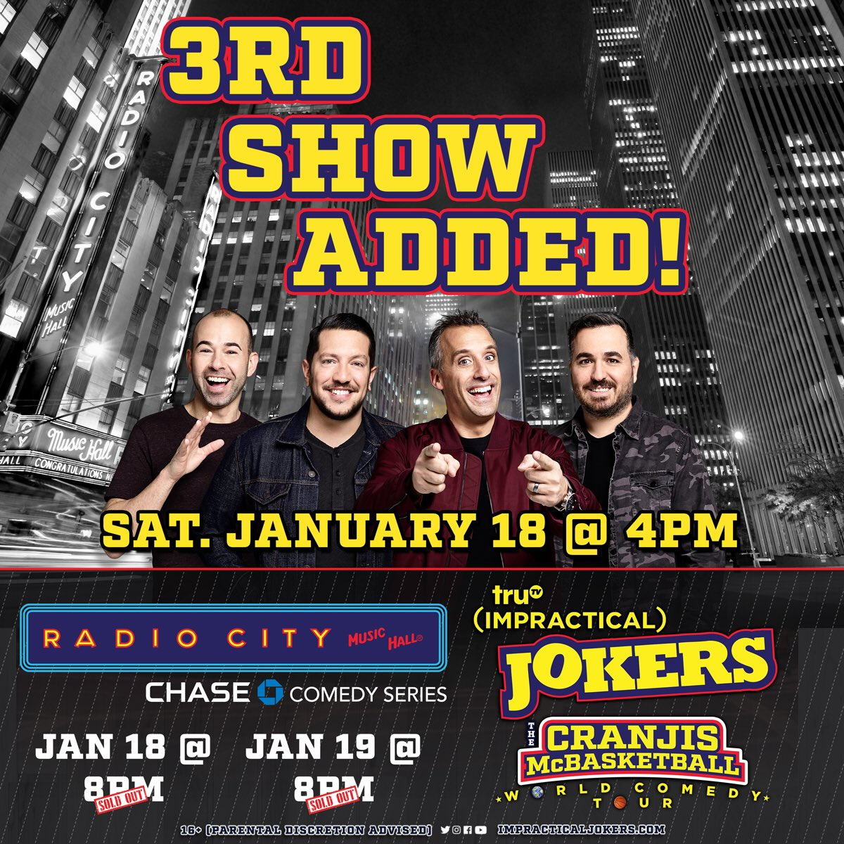 Pre-sale tickets are now available for our 4 PM show on January 18 at @RadioCity!! Get 'em while you can because the first two shows sold out quick! Tickets: https://smarturl.it/wv7xxo