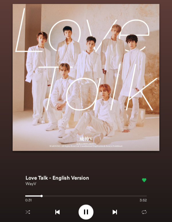I love it 😘❤❤#ILoveYou #WayV #LoveTalk #English #Version