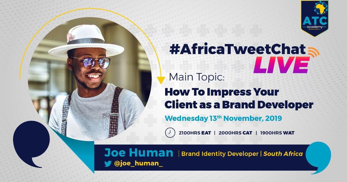 """I'm live on @AfricaTweetChat at 8pm today. Speaking: """"How To Impresss your client as a Brand Developer"""" ——— Wether you're an influencer / designer or writer you play a role in a brands development. Join the conversation here on Twitter #AfricaTweetChat"""