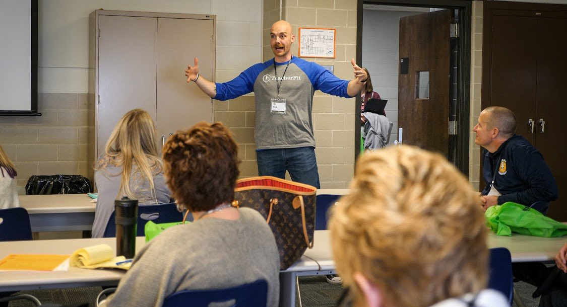 """Coach Nick explaining how big of an impact we plan to have on educator wellness in 2020 at #teachbetter19. """"HUGE"""" I believe was the word of choice!  - Educational Leaders, What tools do you need to impact your staff wellness? #teacherFit #impactbyexample"""