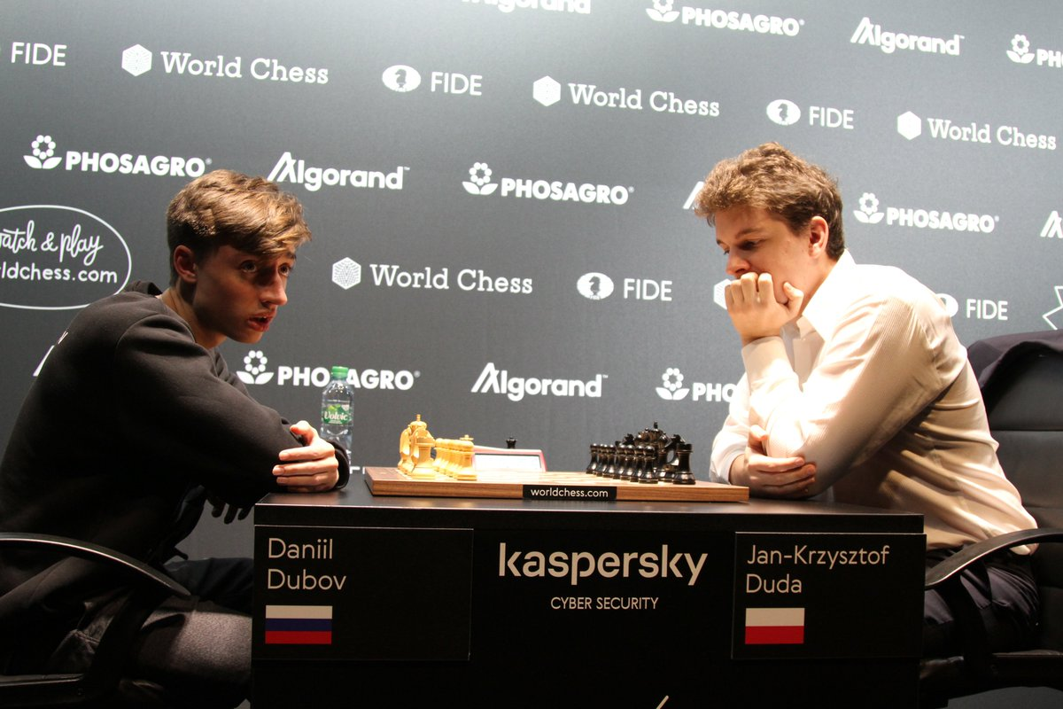 test Twitter Media - Daniil Dubov needed only a draw with White to advance to the final of Hamburg #GrandPrixFIDE, but the game was crazy! After the fireworks of the middlegame, it seemed to settle for the drawish rook endgame, but Jan-Krzysztof Duda used the opponent's mistakes and won it. #chess https://t.co/XD8qzbZ6MB