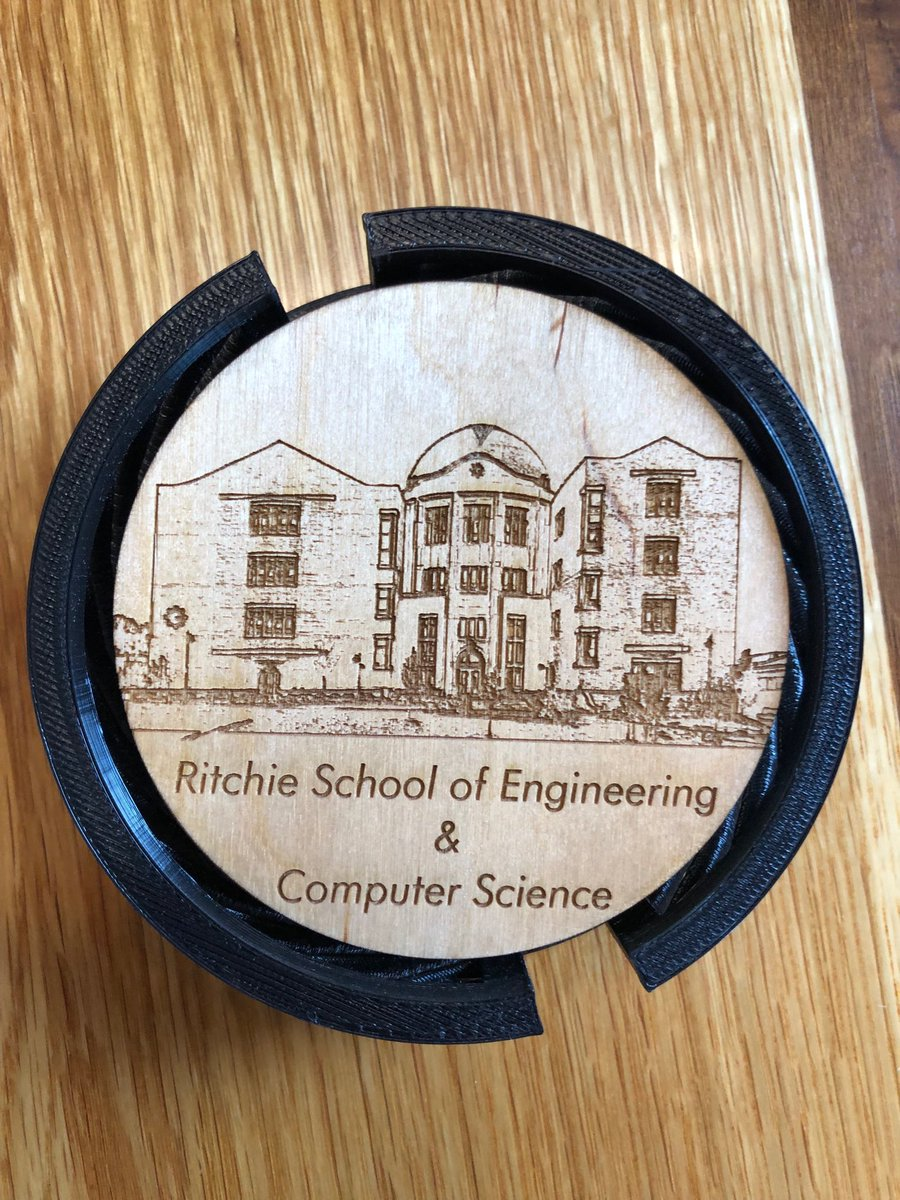 I LOVE these 3D laser-cut coasters ⁦@RitchieSchool⁩ students created. They are rocking the innovation space ... will have to start taking orders from fellow ⁦@UofDenver⁩ Deans 😎!