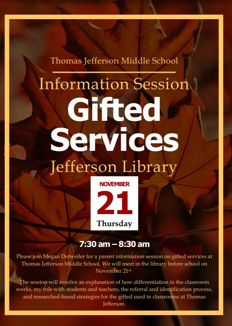 Jefferson Gifted Info Session! It's in the morning this year!<a target='_blank' href='http://twitter.com/JeffersonIBMYP'>@JeffersonIBMYP</a> <a target='_blank' href='https://t.co/BLLGXsUpE2'>https://t.co/BLLGXsUpE2</a>