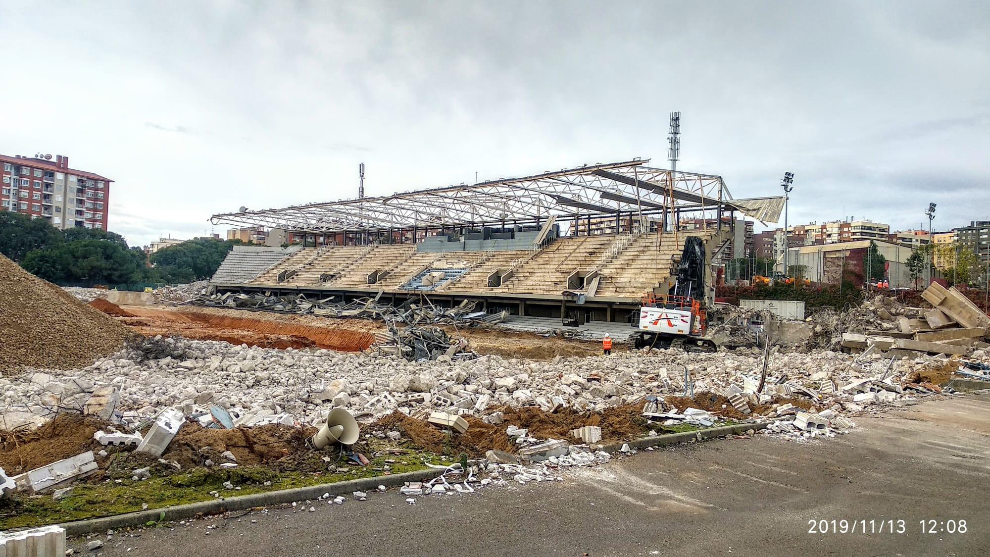 El Mini Estadi, derrumbado (Foto: @xavidifranco77).