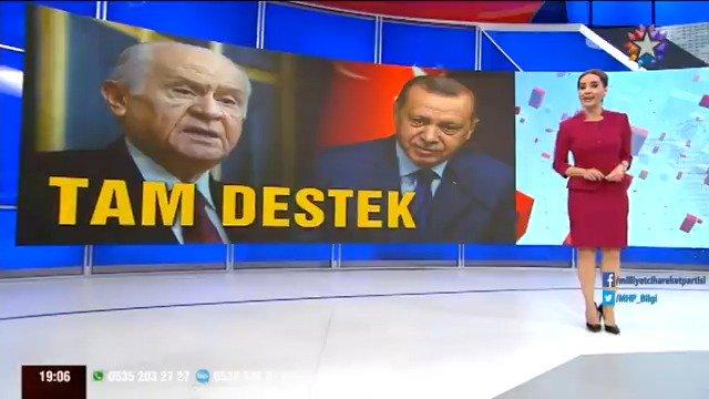 Milliyetçi Hareket Partisi cesaret ve inanmışlıkla Türkiye'nin tarihi hak ve çıkarlarının arkasındadır, Sayın Erdoğan'ın destekçisidir.