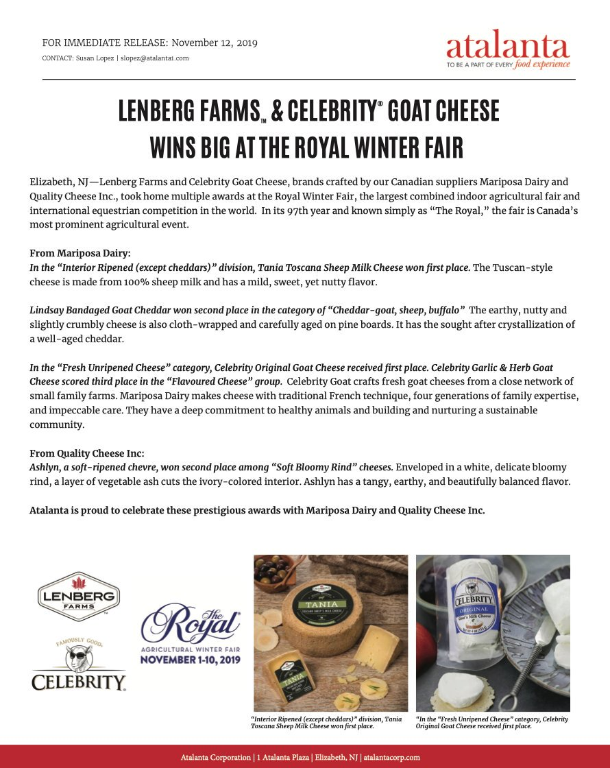 We are proud to announce that our Canadian Brands #LenbergFarms and #Celebrity #GoatCheese took home more awards at the Canadian Royal Winter Fair this month. https://t.co/qeAlpIiH2R
