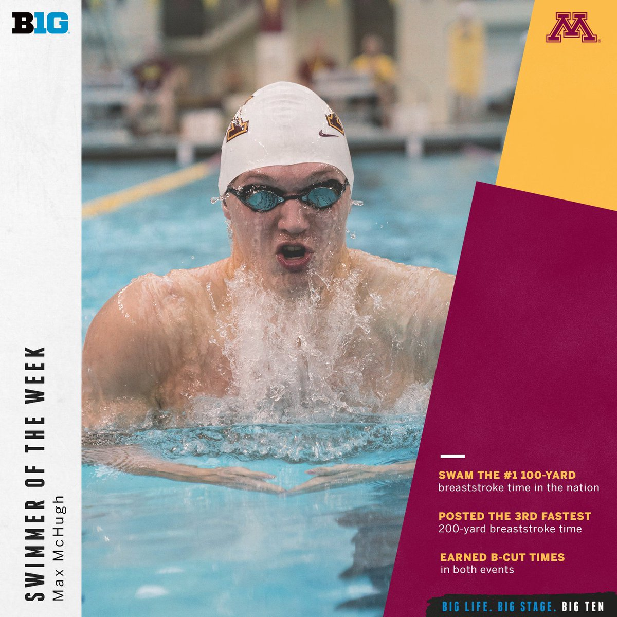 Max McHugh of @GopherSwimDive is the #B1GSD Swimmer of the Week