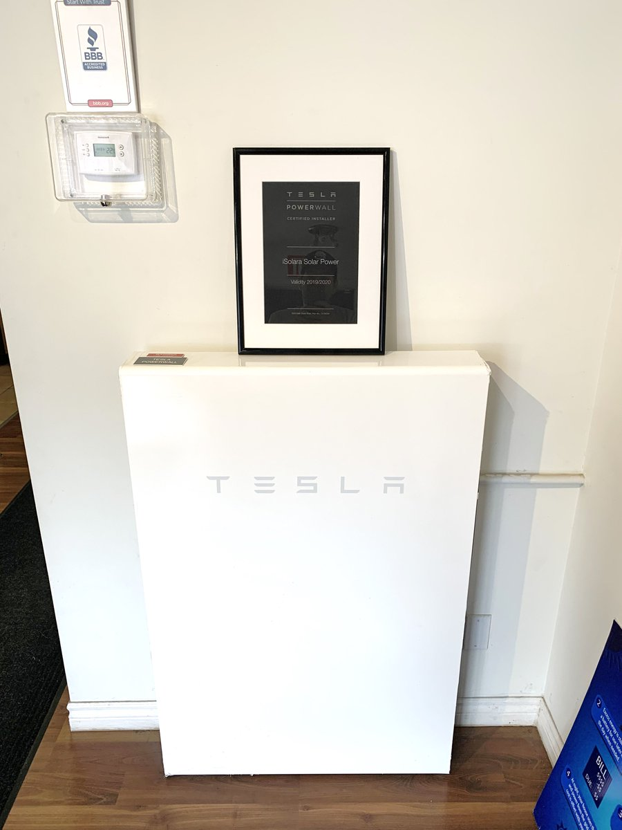 Look what arrived in the mail! Thanks @Tesla for the framed certification which will be proudly displayed above our office #Powerwall . #battery #OttawaSolar #renewable #solarexperts #netmeteringpic.twitter.com/1I2aGF8Iah