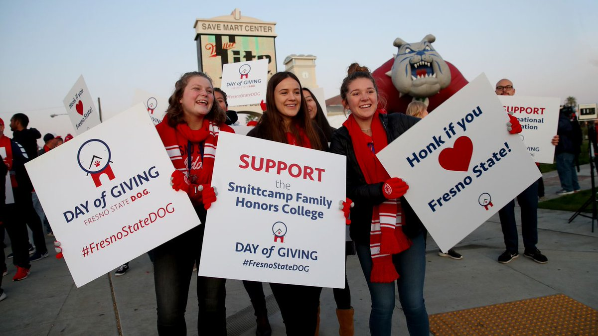 ICYMI: The third annual #FresnoStateDOG brought in a record 2,161 individual donors!See how the community came together to support student success at Fresno State. Read more:  https://bit.ly/2NXtaPv