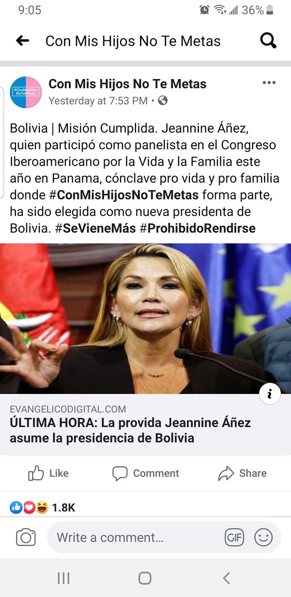 "I know I said I will take a break, but it's hard. Jeanine Añez was a panelist for a conference in Panama that was ""pro-life"" and supports the nuclear family. The lives of QTBIPOC are in danger and I feel so helpless. #Bolivia #EleccionesBolivia2019 #EleccionesBolivia <br>http://pic.twitter.com/4vWXZOtbed"