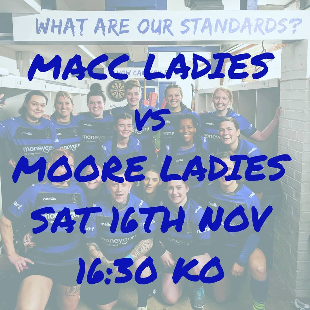 test Twitter Media - GAME ALERT. Macc Ladies take on Moore Ladies at home this Saturday with a late KO. No excuses, be there to support the ladies.  The Bar will be open. 4:30pm KO. Come on down. @MaccRUFC  @Oldmulebar https://t.co/YlkgZtO9Wd