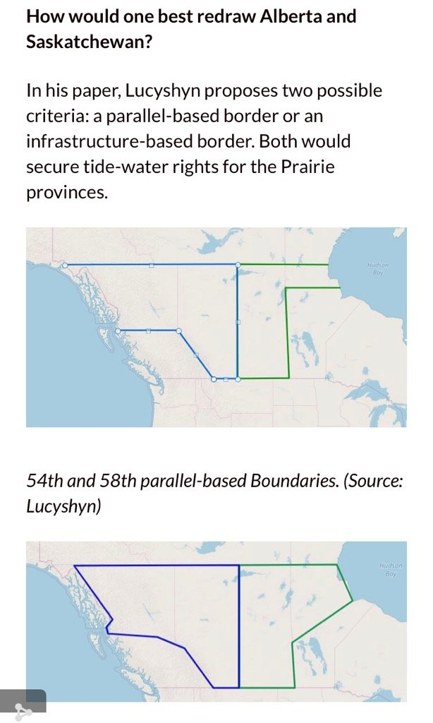 Just interviewed Gerard Lucyshyn from the @FrontierCentre about redrawing Alberta's and Saskatchewan's borders to correct an historic wrong and give us access to deepwater ports at #PrinceRupert and #Churchill. What say you BC and Manitoba? #ableg #cdnpoli<br>http://pic.twitter.com/uDAxf2xFKJ