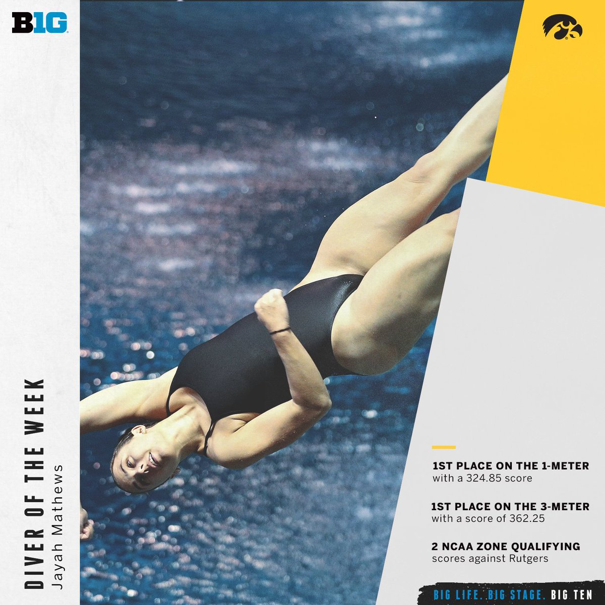 Jayah Mathews of @IowaSwimDive is the #B1GSD Diver of the Week