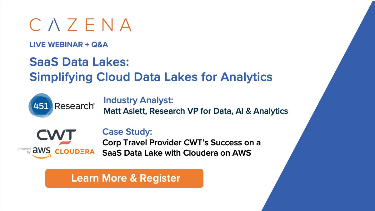 Pick up #Datascience where #BigDataLDN leaves off. Join @451Research @CWTtravel on Nov 19 to learn about next gen #Datalakes #AWS #Cloudera https://info.cazena.com/saas-data-lake-webinar-451-c …