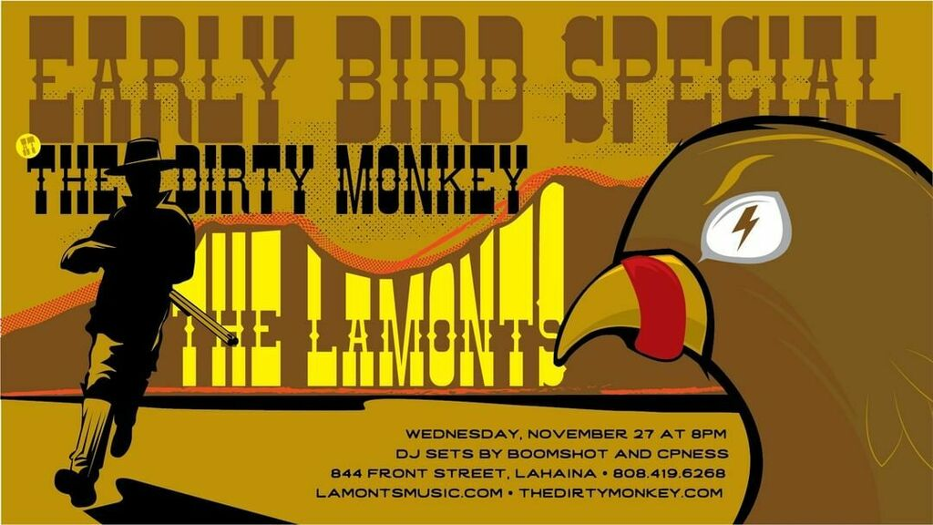 What better way to prep for Turkey Day than pre-Thanksgiving at The Dirty Monkey with The Lamonts?!      #givethanks #thanksgiving #thanksgiving2019 #thelamonts #lamonts  #nightlife #mauinightlife #lahaina #lahainamaui #lahainatown #hawaiinightlife #hawaiinights #…<br>http://pic.twitter.com/1lCGJ4U5hD