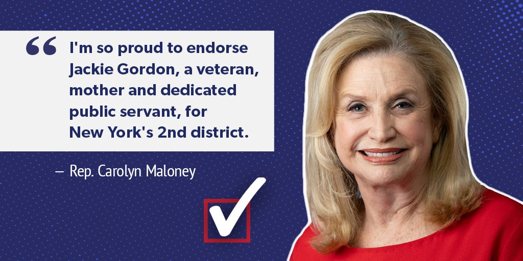 Im thrilled to be endorsed by Rep. @CarolynBMaloney! Shes a proven leader for New York and an educator - so she understands that we need to do more in Washington for our schools. #NY02