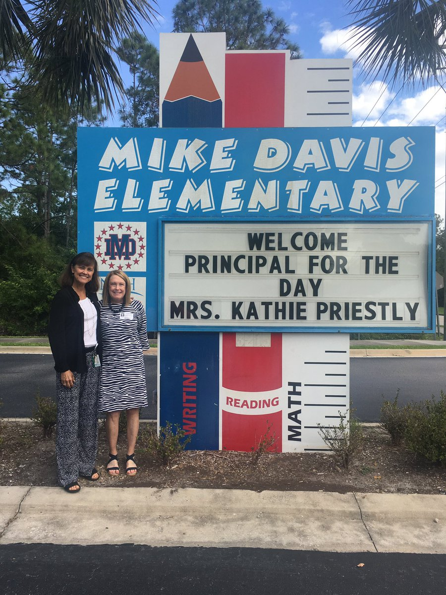 The Mike Davis Stars would like to thank Mrs. Kathie Priestly for being our Principal for the Day.  She opened our day on the news, attended a PLC, visited classrooms, read a story,  and met many of our wonderful children and staff!