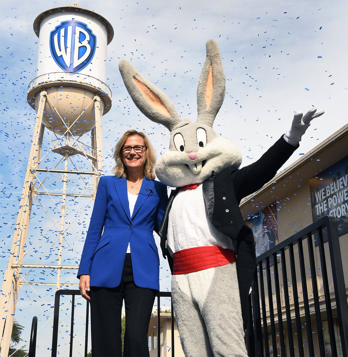 Warner Bros. Chair and CEO Ann Sarnoff unveiled a refreshed company logo and brand position with help from long-time WB employee Bugs Bunny. #WarnerBros