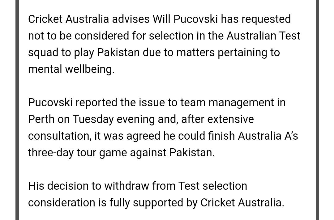 Will Pucovski pulls back from Aust Test selection #AUSvPAK <br>http://pic.twitter.com/oyKJDJK8DW