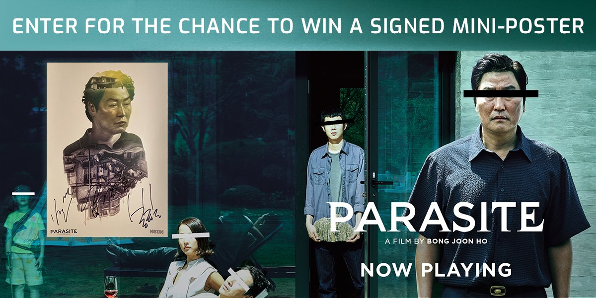 FOLLOW us and RETWEET with #ParasitePosterGiveaway for a chance to win!  Rules:  https:// regmovi.es/2XcVL7n    <br>http://pic.twitter.com/gz9GCp3SO2