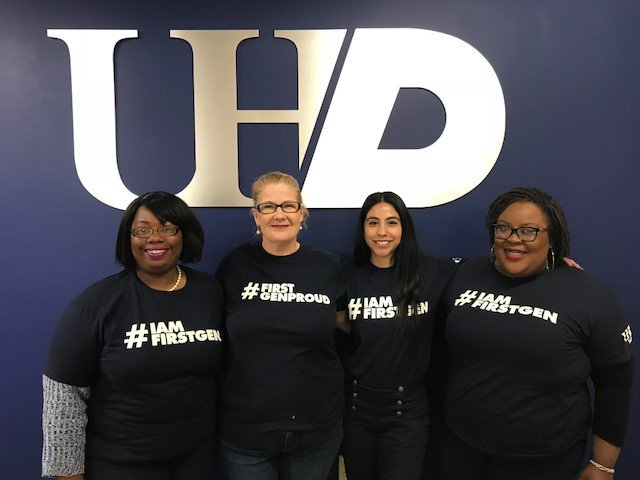 UHD Office of Student Affairs and Office of Enrollment Management staff members showed their support of First-Generation college students by wearing spirit shirts on Wednesday!   #CelebrateFirstGen #UHDFirstGen<br>http://pic.twitter.com/aLhzRno8Wk