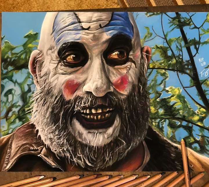 I don't know much about fuckin' Art but I know what I like! Sid Haig as Captain Spaulding tribute by @Orcuttsart. <br>http://pic.twitter.com/WbFrPtJDmf