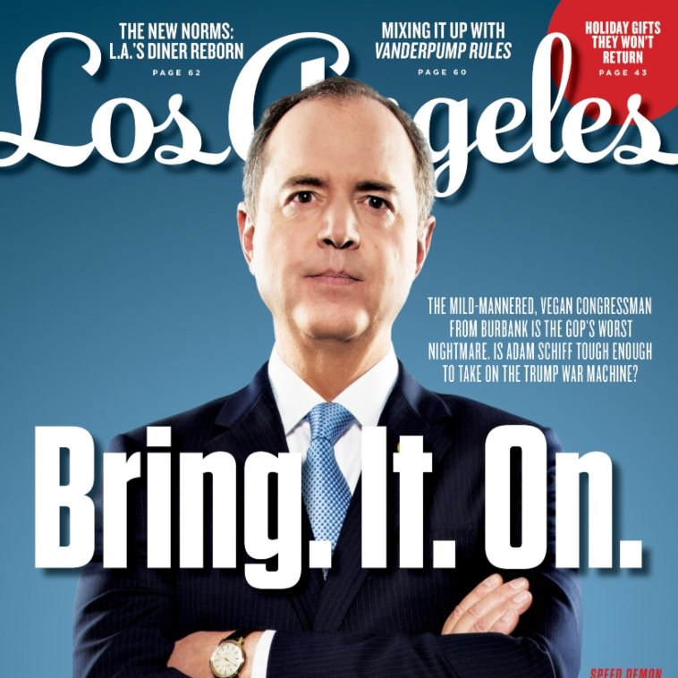 Cover story: Congressman @repadamschiff has become Donald Trumps worst nightmare—but is the mild-mannered, vegan lawmaker tough enough to take on the right-wing smear machine? We asked him. buff.ly/2KjhMfH