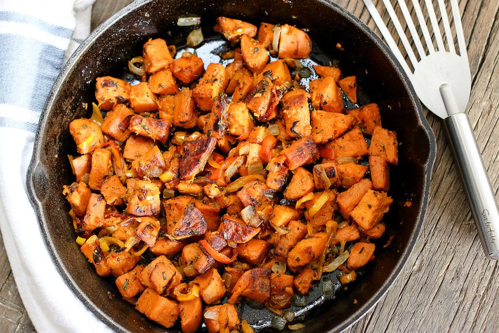 Sweet Potato Hash makes sense for breakfast, lunch, and dinner.  And late night post-drunkeness. #Paleo #GlutenFree #DairyFree https://buff.ly/2ud3Zl1