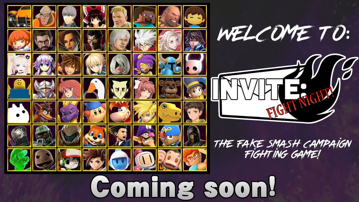 Welcome to Invite: Fight Night! My latest project.  It's basically a fake smash bros game for the Smash Campaign accounts. I will be covering some fun concepts for this game idea, Include Roster, Stages, Music, Menus and Game Modes!  Feel free to pitch ideas to the Project! <br>http://pic.twitter.com/Q5rxLgukI0