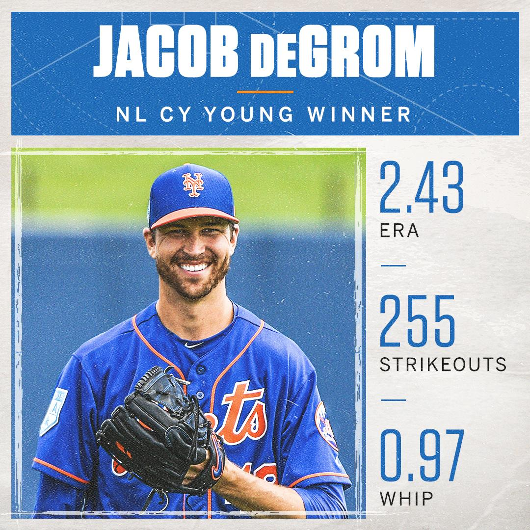 Back-to-back   Jacob deGrom wins his second consecutive National League Cy Young Award  <br>http://pic.twitter.com/UlLpAkGw3L