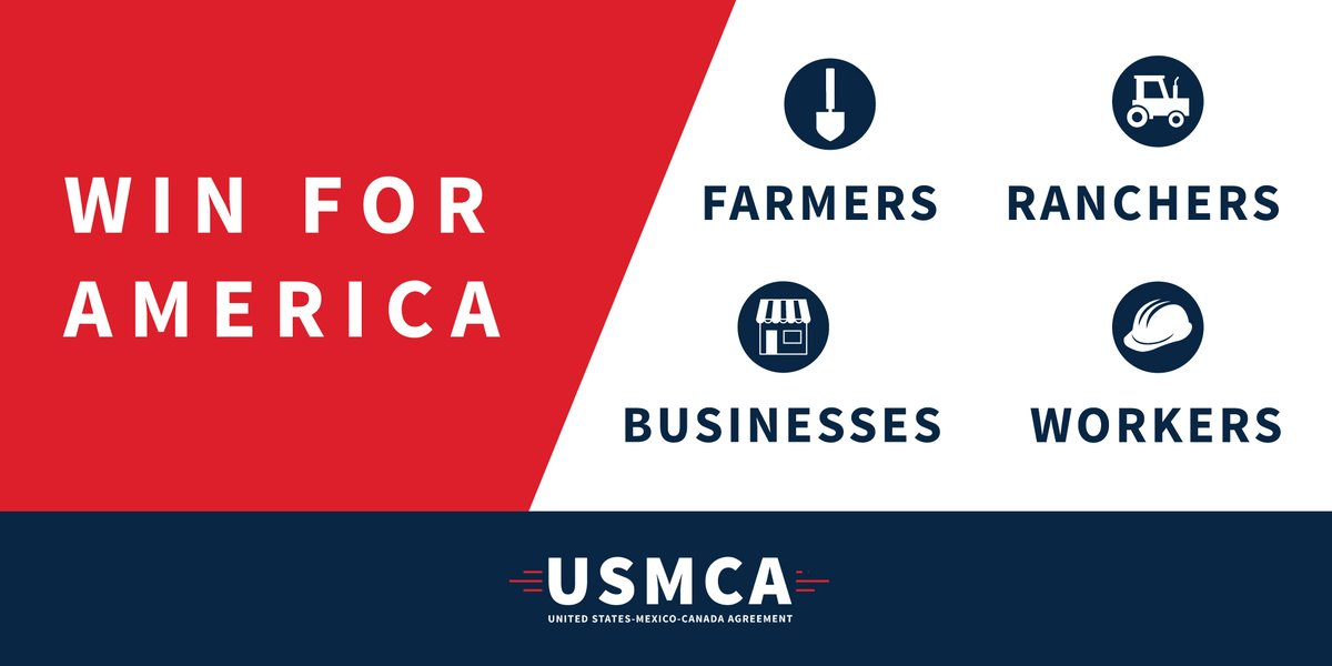 The USMCA will be a big win for America's workers, farmers, ranchers, and businesses. #USMCA