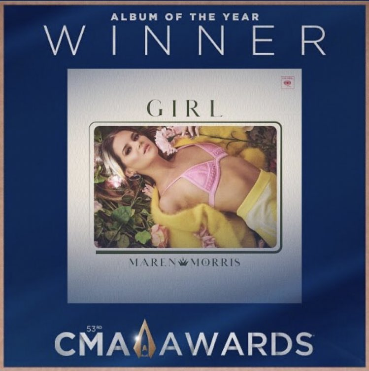 I CANNOT WAIT TO CELEBRATE THIS #CMA #AlbumOfTheYear AWARD WITH @MarenMorris IN ONE DAY!! I'll be the one singing, dancing, and crying in pit!