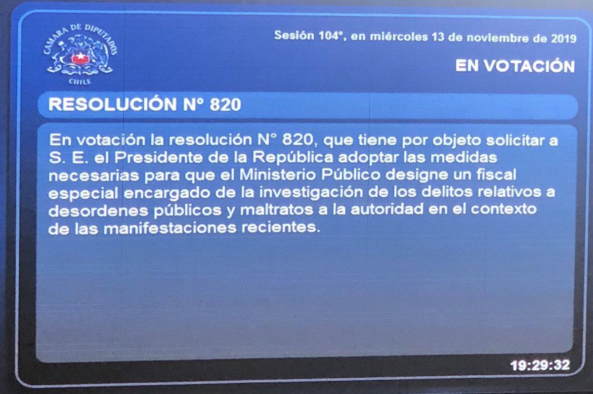 El Partido Comunista y el Frente Amplio votaron en contra o se abstuvieron a la Resolución #820, para la designación de un fiscal especial encargado de la investigación de los desórdenes públicos y maltratos a la autoridad...por qué será??? #ApoyoaCarabineros  #GraciasCarabineros