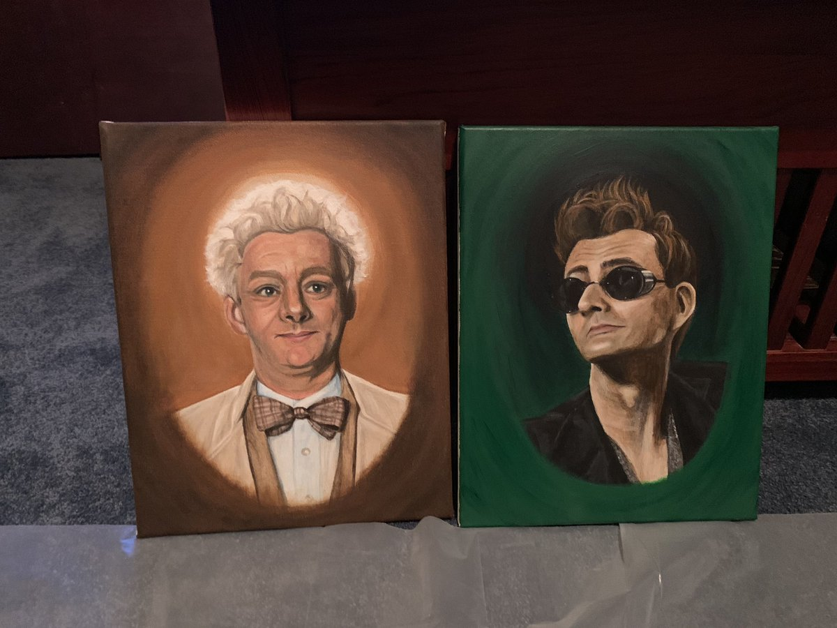 Acrylic portrait set of #Aziraphale and #Crowley from @GoodOmensPrime   Aziraphale completed August 2, 2019 Crowley completed August 30, 2019 https://t.co/bKNilruz6T