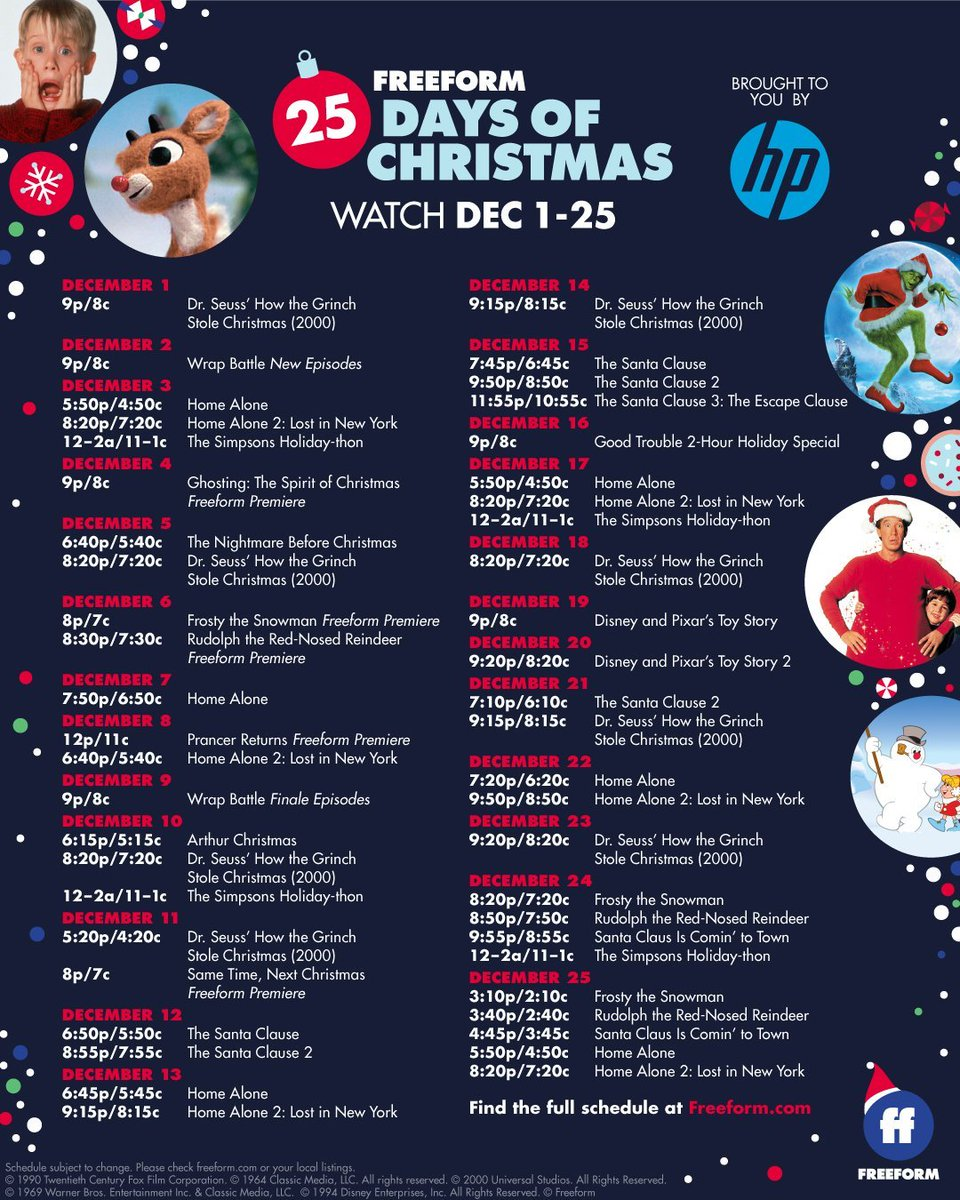 Freeform 25 Days Of Christmas Schedule 2021 25 Days Of Christmas Freeform25days Twitter