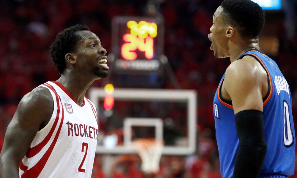 """Russell Westbrook on Patrick Beverley: """"Pat Bev trick y'all, man, like he playing defense. He don't guard nobody, man. He just running around, doing nothing.""""  Harden dropped 47 tonight"""