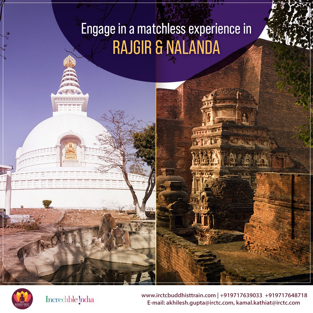 #Explore the ruins of #NalandaUniversity, meditate at the Japanese Peace pagoda or discover divinity at Venu Van. IRCTC #BuddhistCircuitTouristTrain #Rajgir & #Nalanda itinerary is your chance to dwell into the history of Buddhism like none! To book, visit http://bit.ly/2qg4ud5